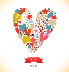 Vector decorative greeting card with doodle heart