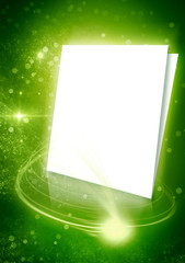Green background with white pages and rays of light. Glows space