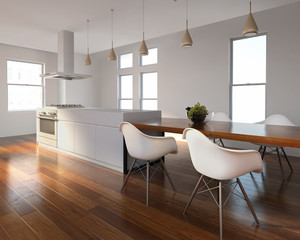 Urban interior white and wood kitchen