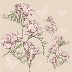 colour sketch flower pattern