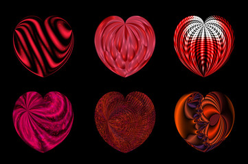Isolated hearts for your design. Set 6.