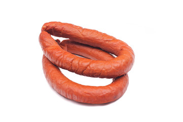 two rings of  smoked sousages with section