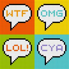 Wall Murals Pixel 8-bit Pixel 3-Letter Acronyms in Speech Bubbles