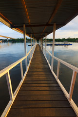 Wooden jetty with beautiful morning lights