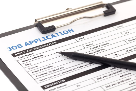 Job application form isolated