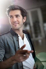 Portrait of handsome trendy guy