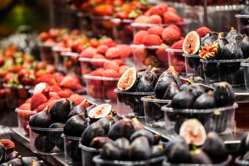Colourful fruit and figs market stall,Boqueria market,Barcelona