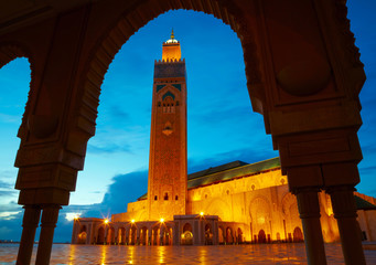Photo sur Plexiglas Maroc Hassan II Mosque in Casablanca, Morocco Africa