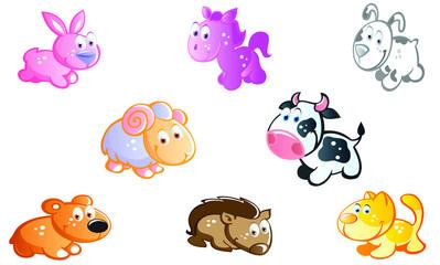 Baby animals cartoon set