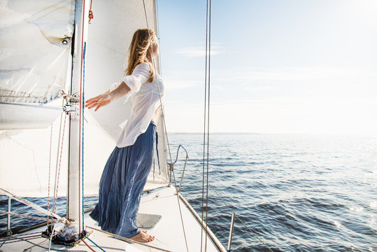 woman staying on sailboat
