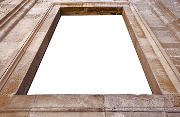 stone wall frame with white isolated