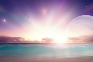 Fantasy ocean landscape on a distant alien world
