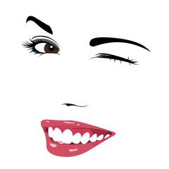 Beautiful girl wink vector.