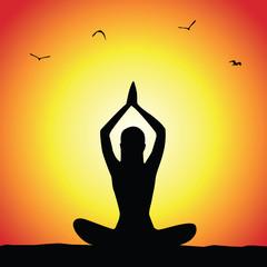 Sunset yoga poster