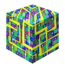 Cube Colored abstract pattern of elements retro background