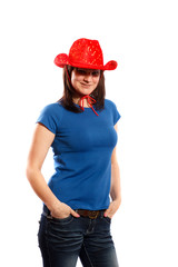 woman in a red cowboy hat