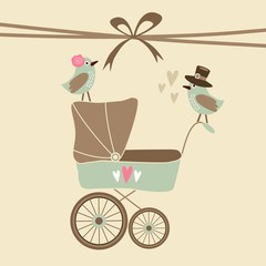 Baby shower invitation, birthday card with baby carriage, birds