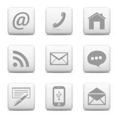 Contact buttons set, email icons
