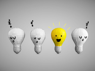 Idea bulbs with smileys in row concept