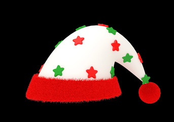 Glitter star Santa Claus hat with clipping path