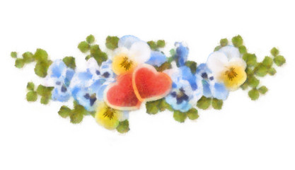 Pastel and watercolor painting flowers and hearts
