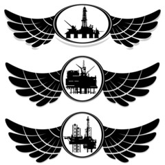 Abstract icons with drilling rigs