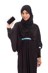 young arabian woman showing smart phone