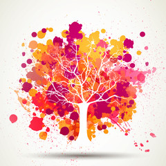 Vector Illustration of an Abstract Tree with Splashes