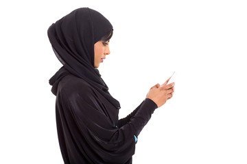 arabian girl using smart phone