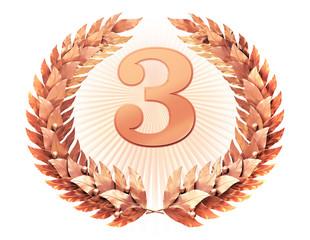 Number three in the bronze laurel wreath