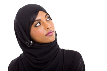 muslim woman looking up