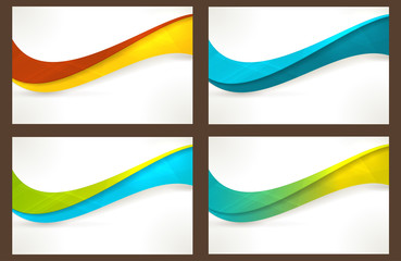 Set of colourful wave templates, banners