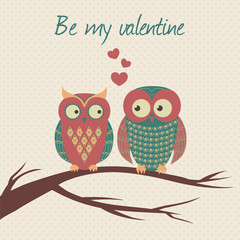 Vector colorful illustration with two owls in love