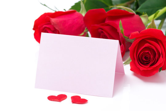 Card for congratulation and roses on a white background