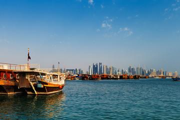 Doha, Qatar: Traditional sail boats called Dhows