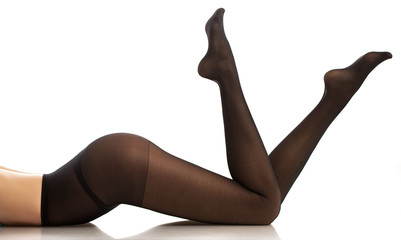 girl in black pantyhose.  White background.