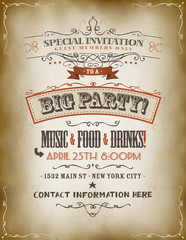 Vintage Big Party Invitation Poster