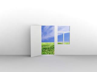 Exit to natural landscape. Concept - eco house.