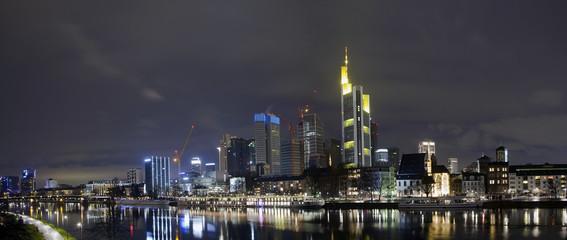Evening panorama of Main river and business district, Frankfurt