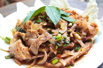 Thai spicy pork salad.