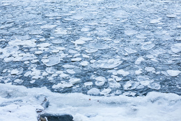 Ice pieces in a lake