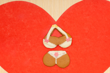 Underwear shape gingerbread cake cookie red heart love symbol
