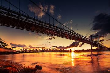 Sunset under Triboro Bridge, NY