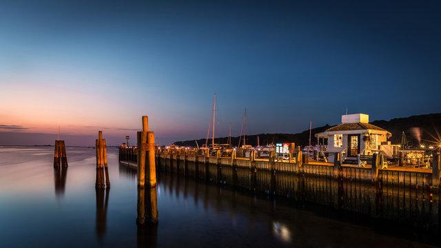 Port Jefferson, NY, at dusk