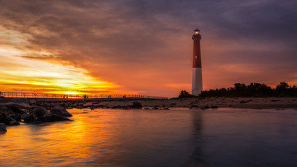 Barnegat Lighthouse at sunset Wall mural