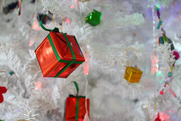 Happy new year gift box and christmas tree
