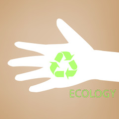 Reuse sign on hand silhouette on recycled paper. Vector, EPS10
