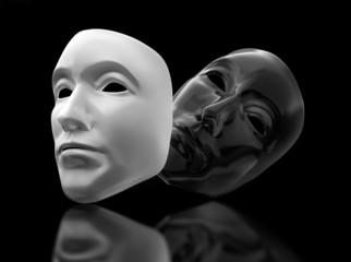 Theatermasken auf schwarzem Untergrund