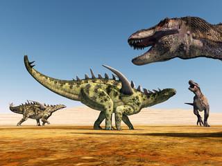 Die Dinosaurier Gigantspinosaurus und Tyrannosaurus Rex