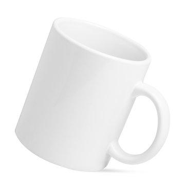 Ceramic empty white mug isolated on white background